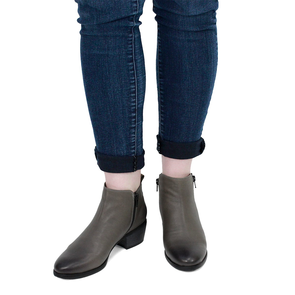 Lds Davina dk gry double side zip bootie