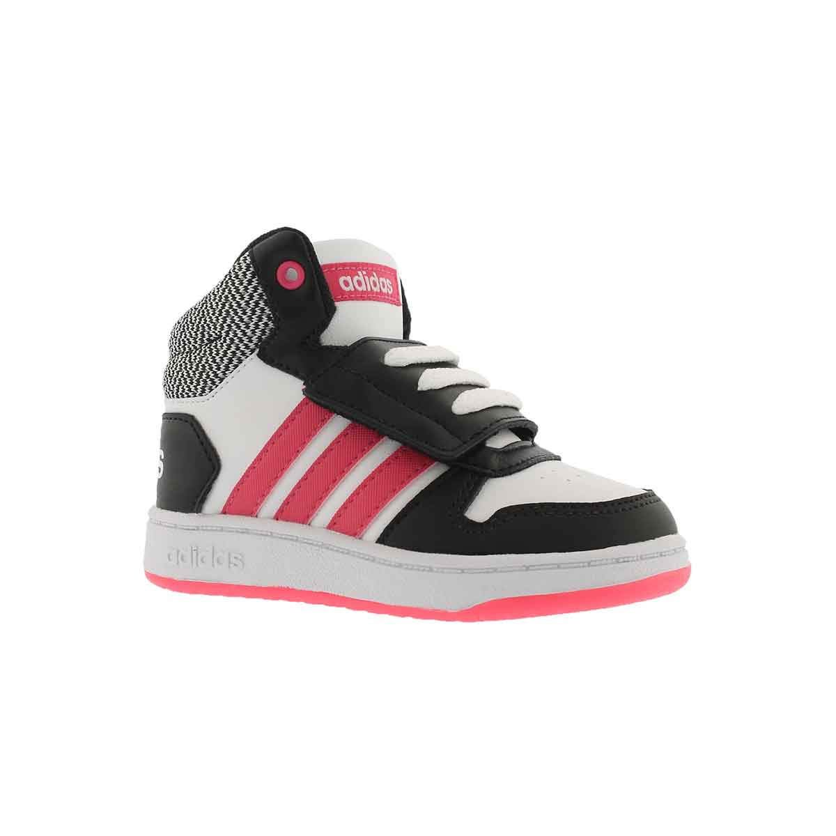 Infants' v5 HOOPS MID 2.0 wht/pnk high sneakers