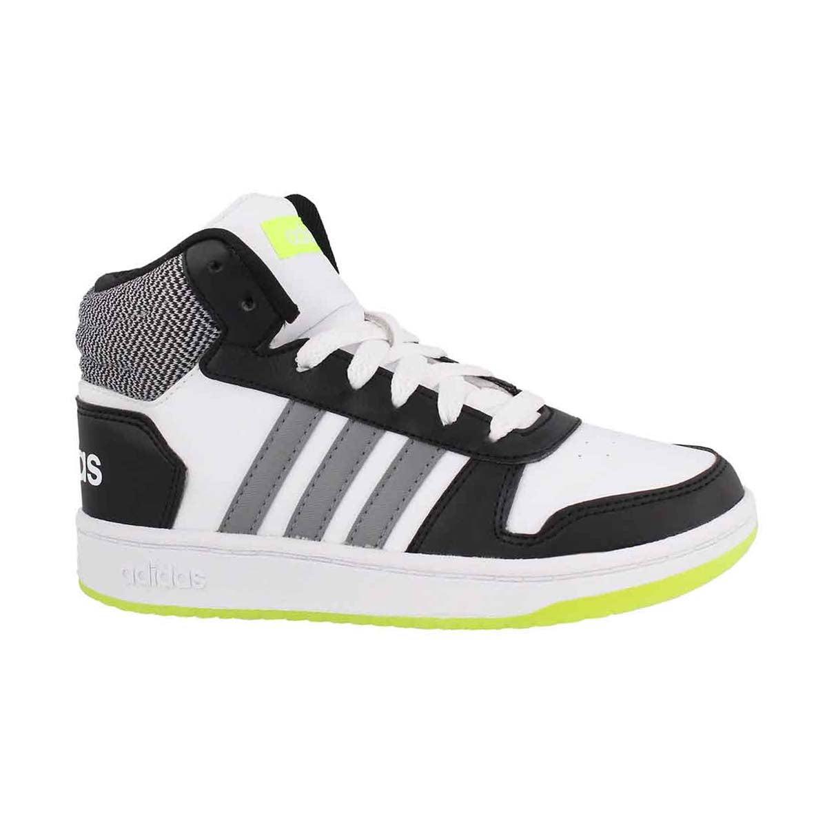 Boys' V5 HOOPS MID 2.0 white/grey/black sneakers