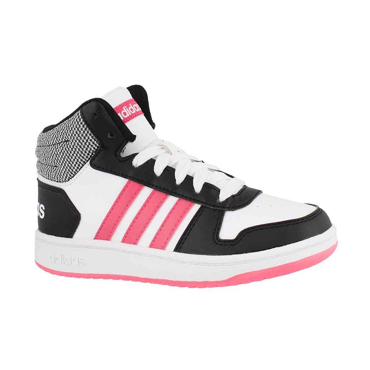 Girls' V5 HOOPS MID 2.0 white/pink/black sneakers