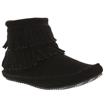 Lds DebraII Hi black suede back zip moc