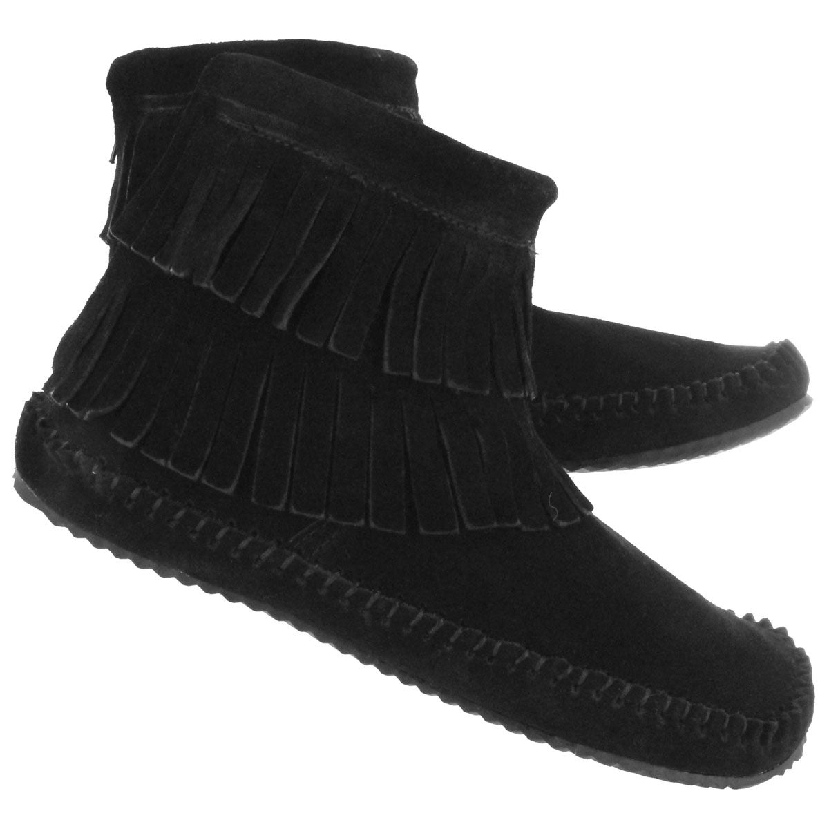 Women's DEBRA II HI black suede back zip mocs