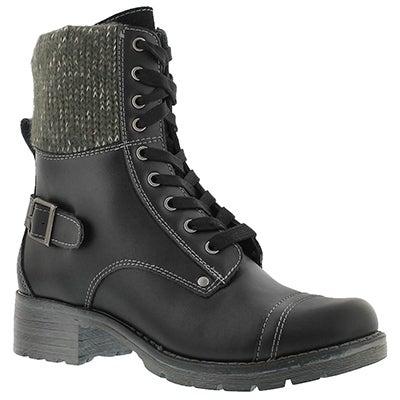 SoftMoc Women's DEEDEE black knit top combat boots
