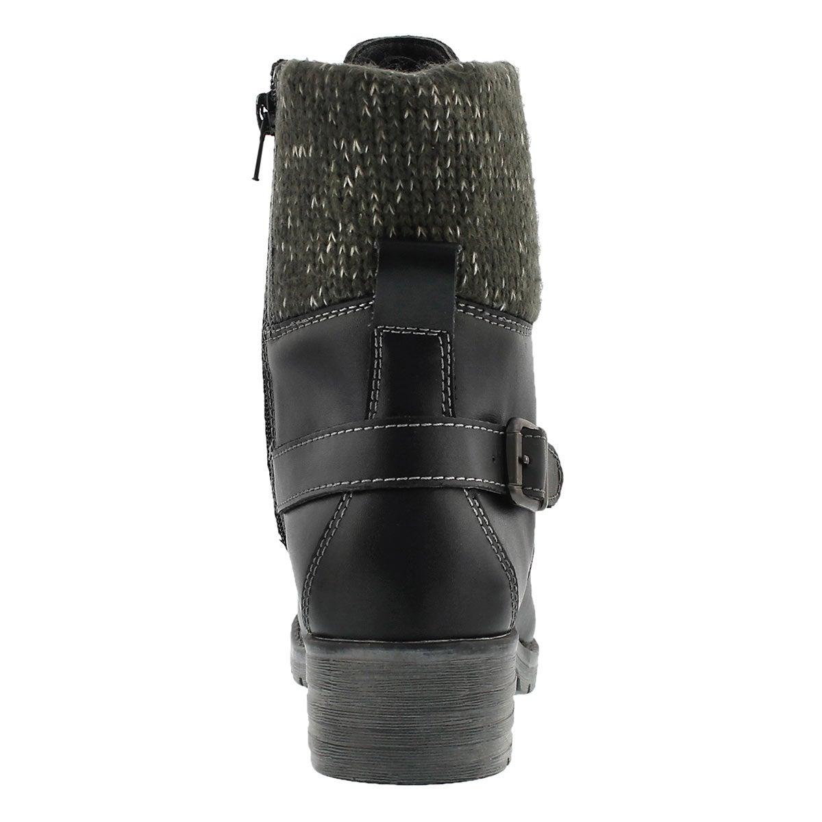 Lds Deedee blk knit top combat boot