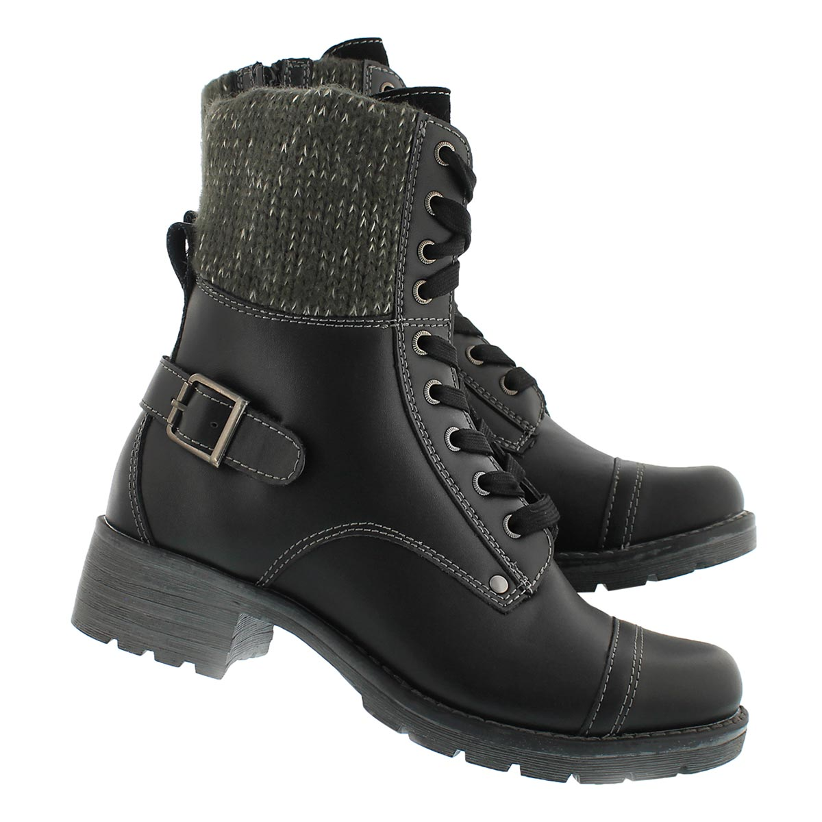 Lds Deedee blk knit top combat boot