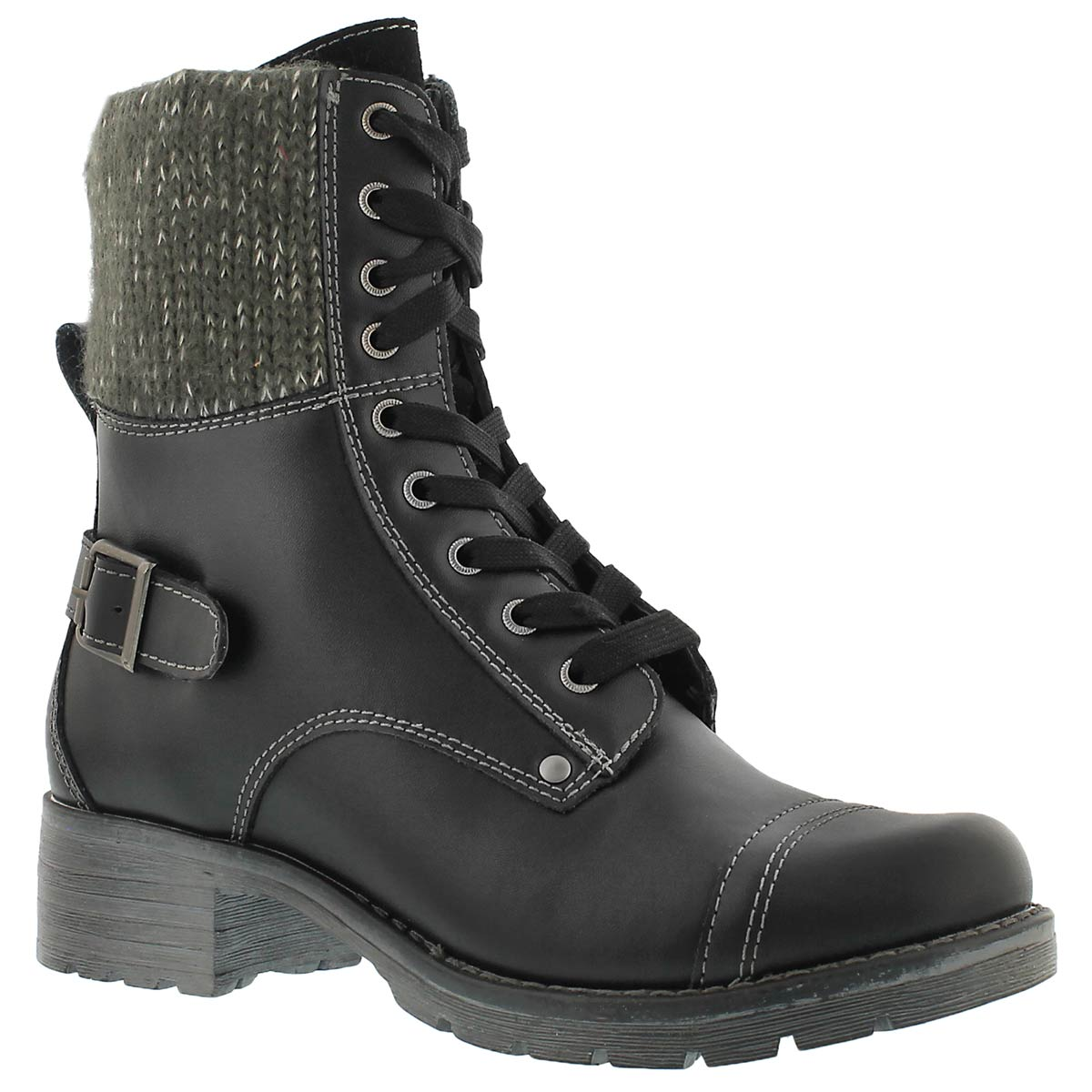 Women's DEEDEE black knit top combat boots