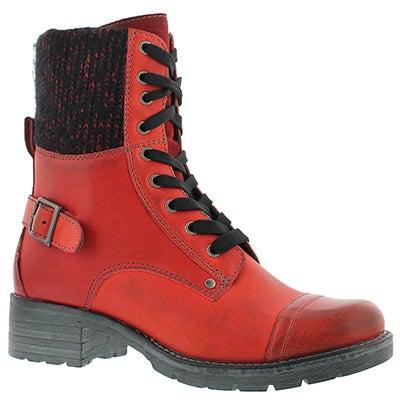 SoftMoc Women's DEEDEE red knit top combat boots