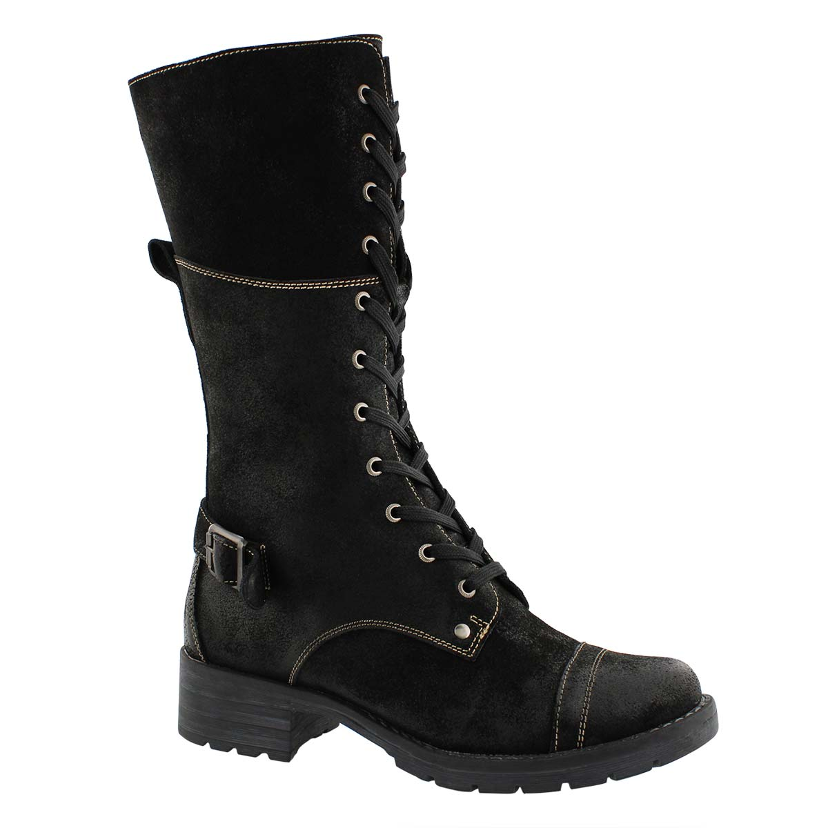 Lds Deedee Tall black combat boot