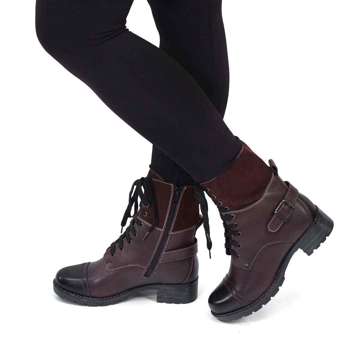 Lds Deedee 2 burgundy combat boot