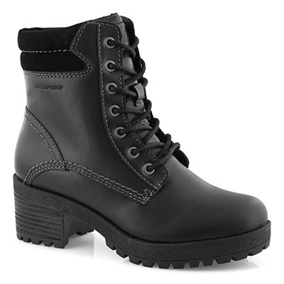 Lds Delson blk wtpf lace up ankle boot