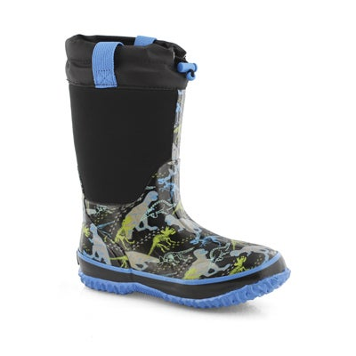Bys Dino blk wtpf pull on winter boot
