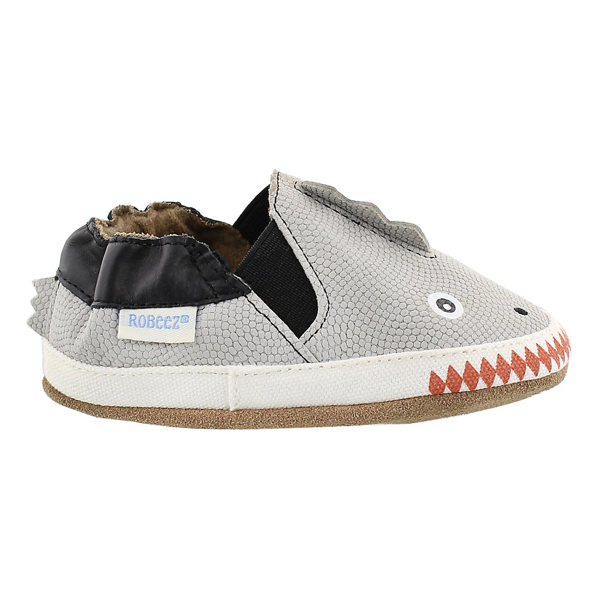 Inf Dino Dan pale grey soft slipper