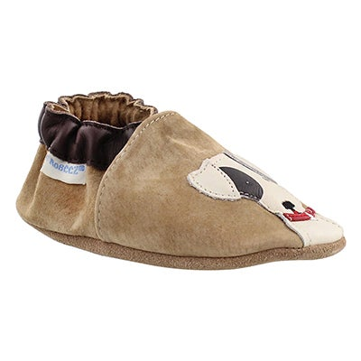 Robeez Infants' DOGGY DALE taupe soft sole slippers