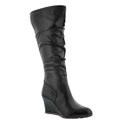 Franco Sarto Women's DOMINION black hi dress wedge boots