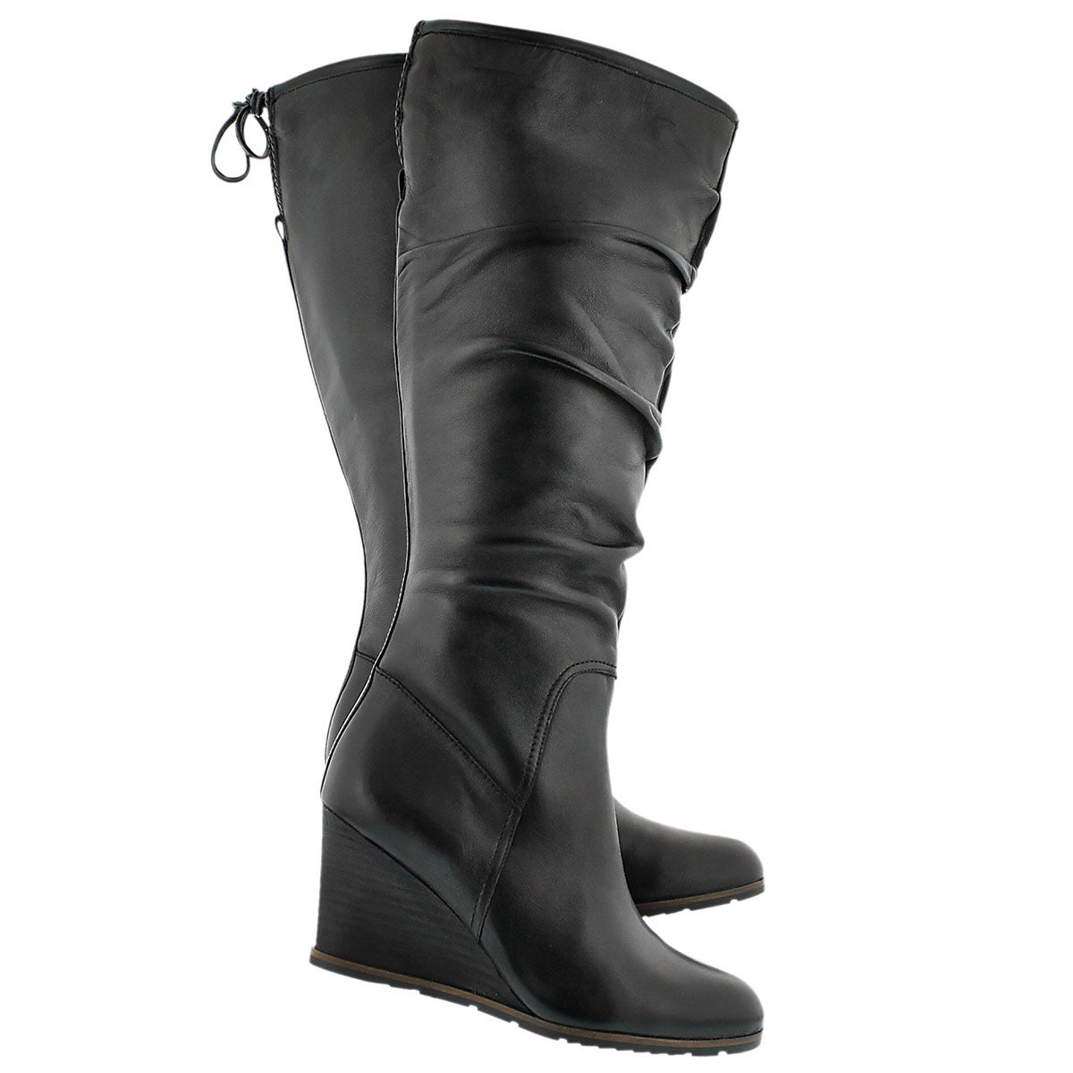 Lds Dominion black hi dress wedge boot