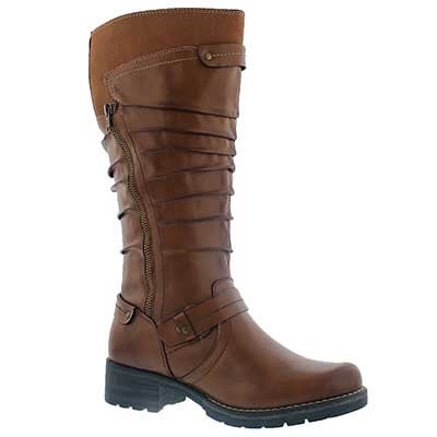 SoftMoc Women's DOMINIQUE cognac tall riding boots - Wide