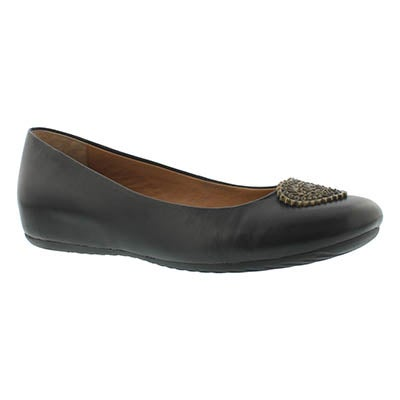 Lds Doris black jwl ballerina flat- wide