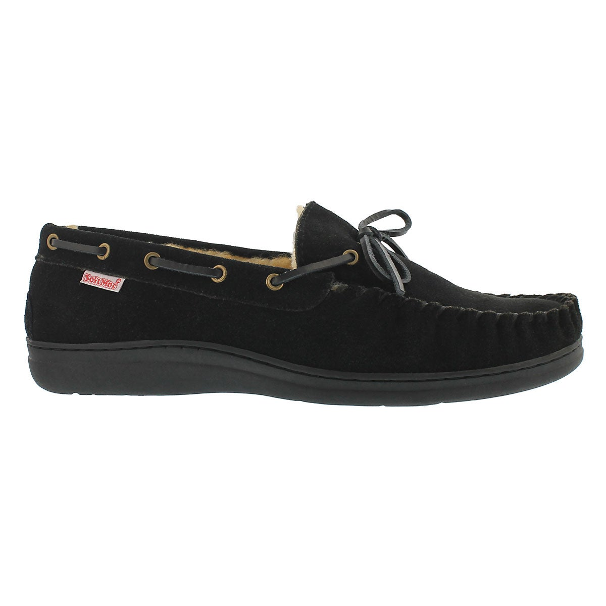 Mns Duke black lined suede mocc