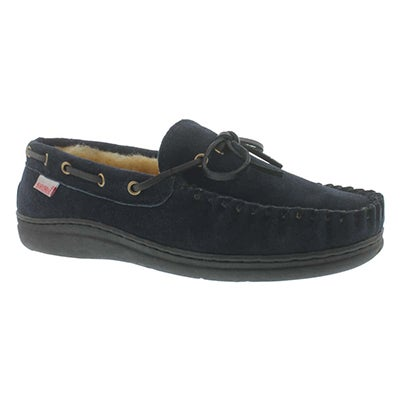 Mns Duke navy lined suede mocc
