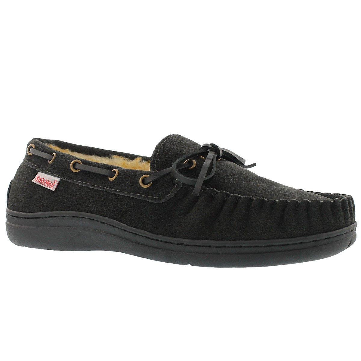 Mns Duke II charcoal lined suede mocc