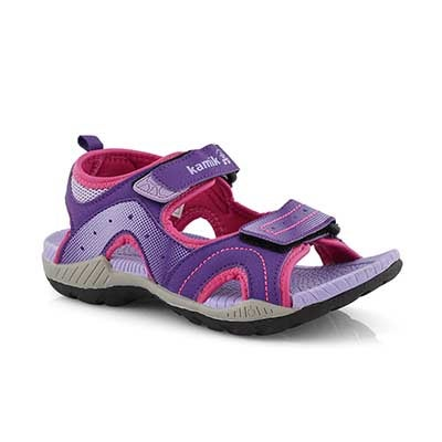 Grls Dune purple sport sandal