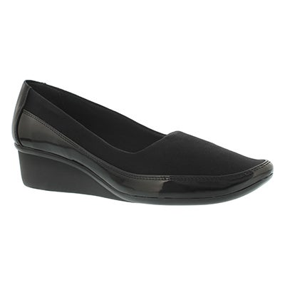 Lds Dusti blk slip on casual wedge shoe