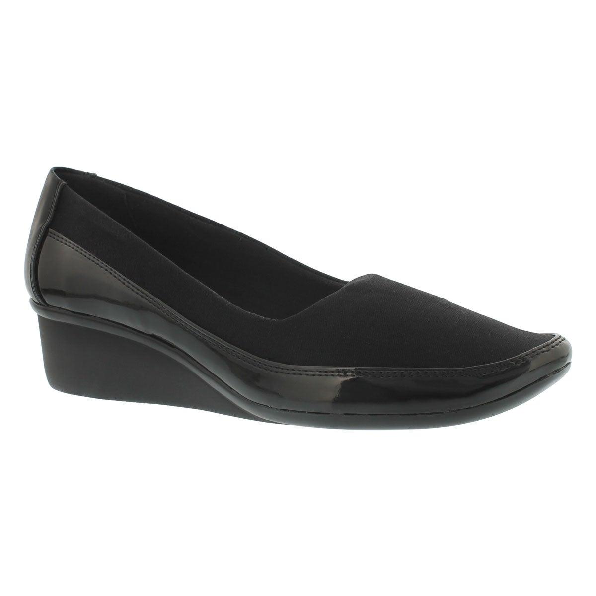 Women's DUSTI black slip on casual wedge shoes