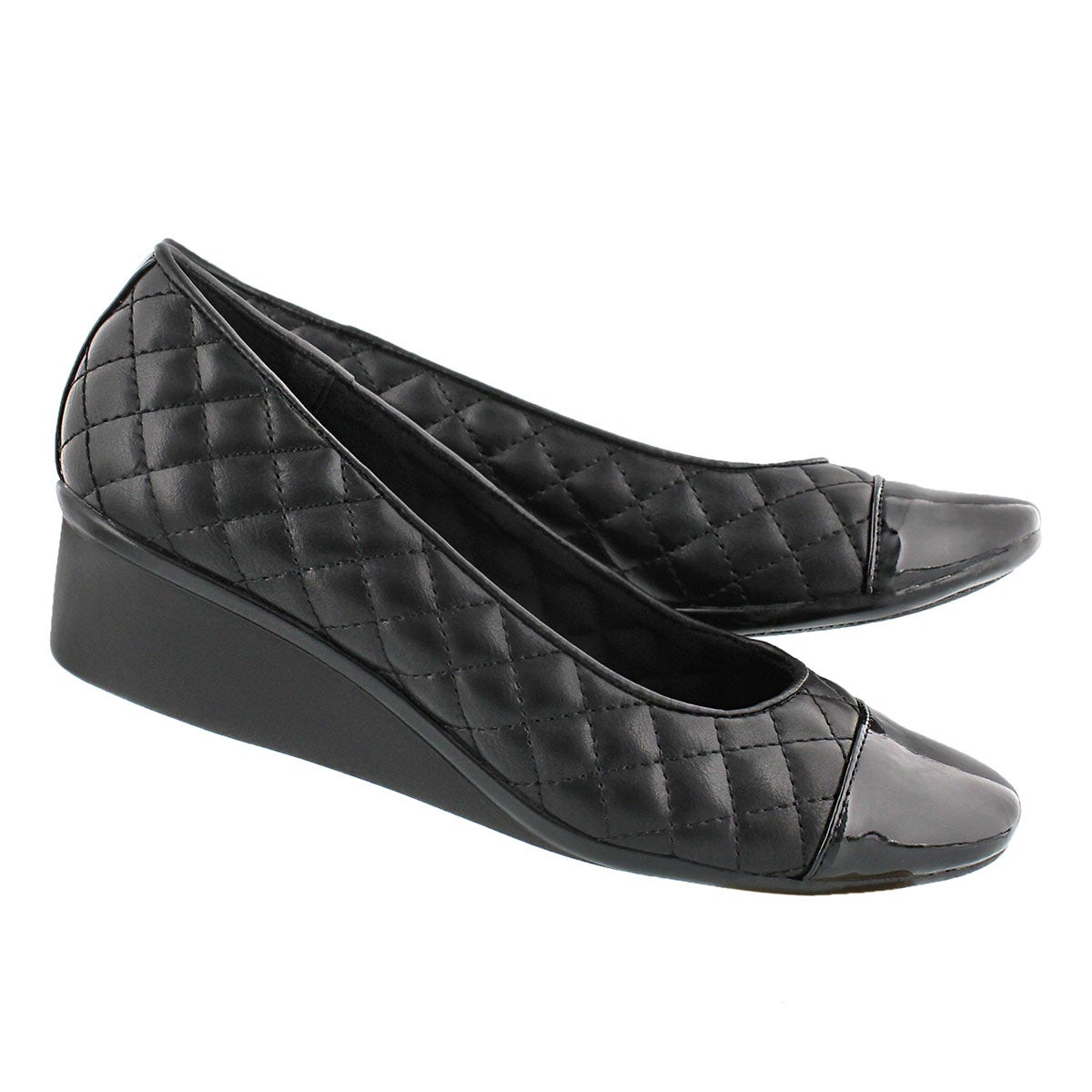 Lds Dusti 3 blk quilted casual slip on