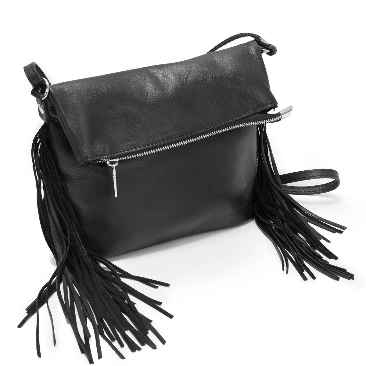 Lds black fringe detail tote handbag