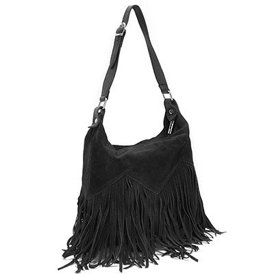 Lds black fringe zip up tote