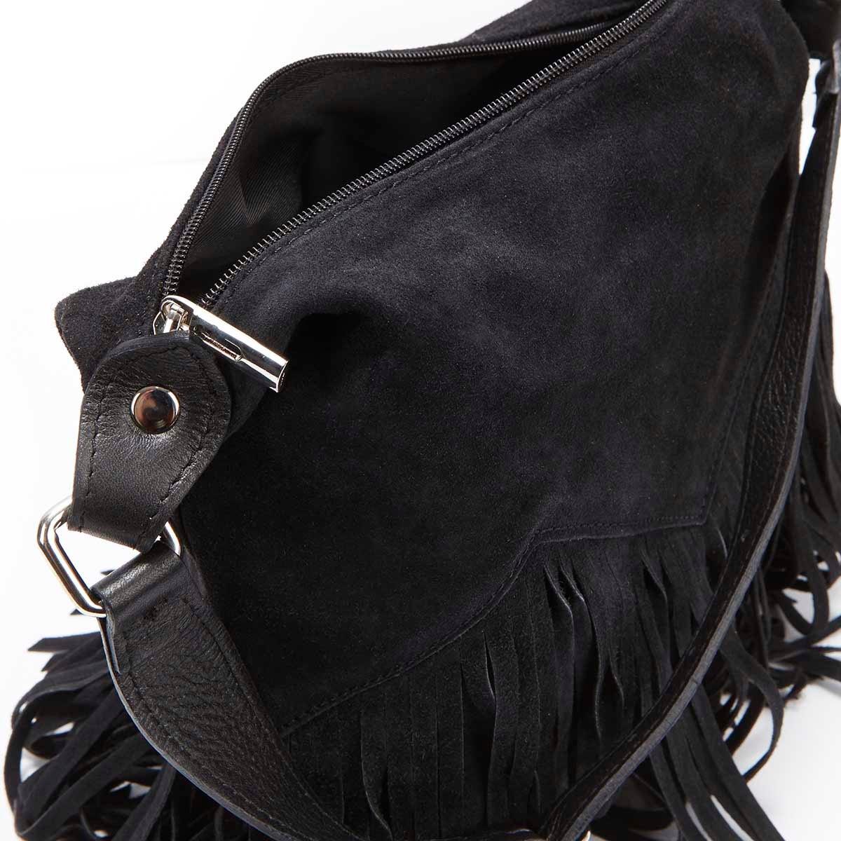 Lds black fringe zip up tote