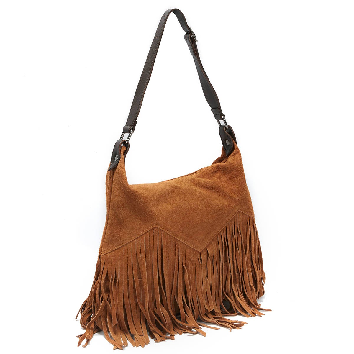 Women's E60 brown fringe zip up tote