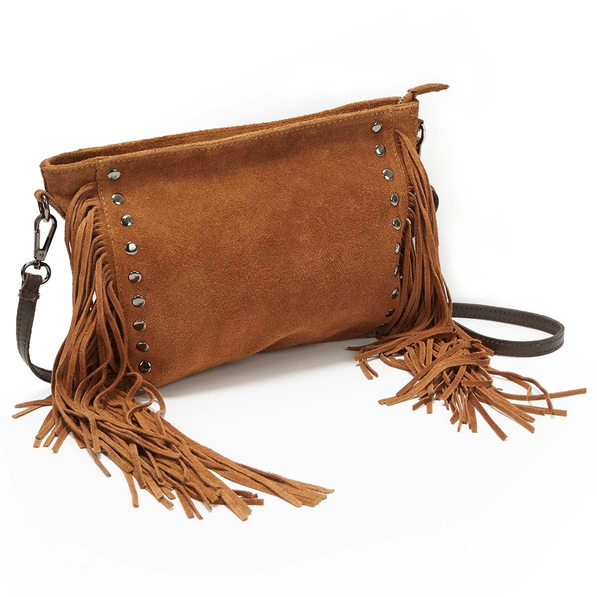 Lds brown studded fringe handbag