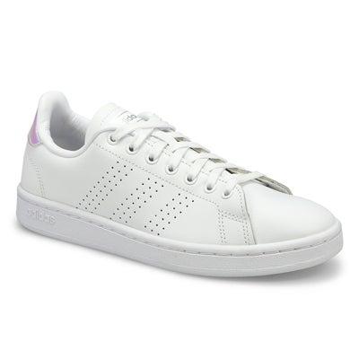 Lds Advantage wht/slvr lace up sneaker