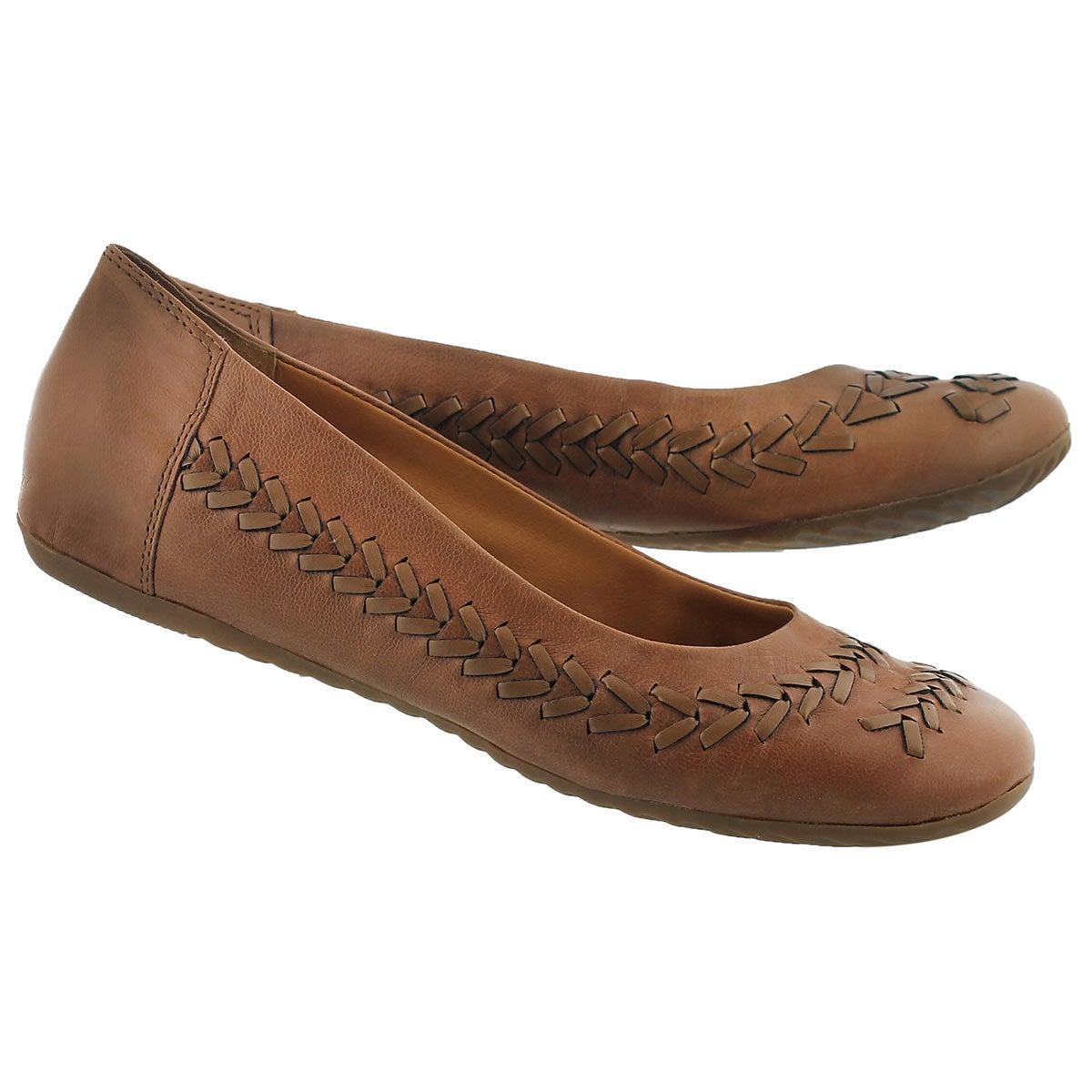 Lds Elsie tpe leather ballerina flat