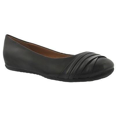 Lds Emily black leather ballerina flat