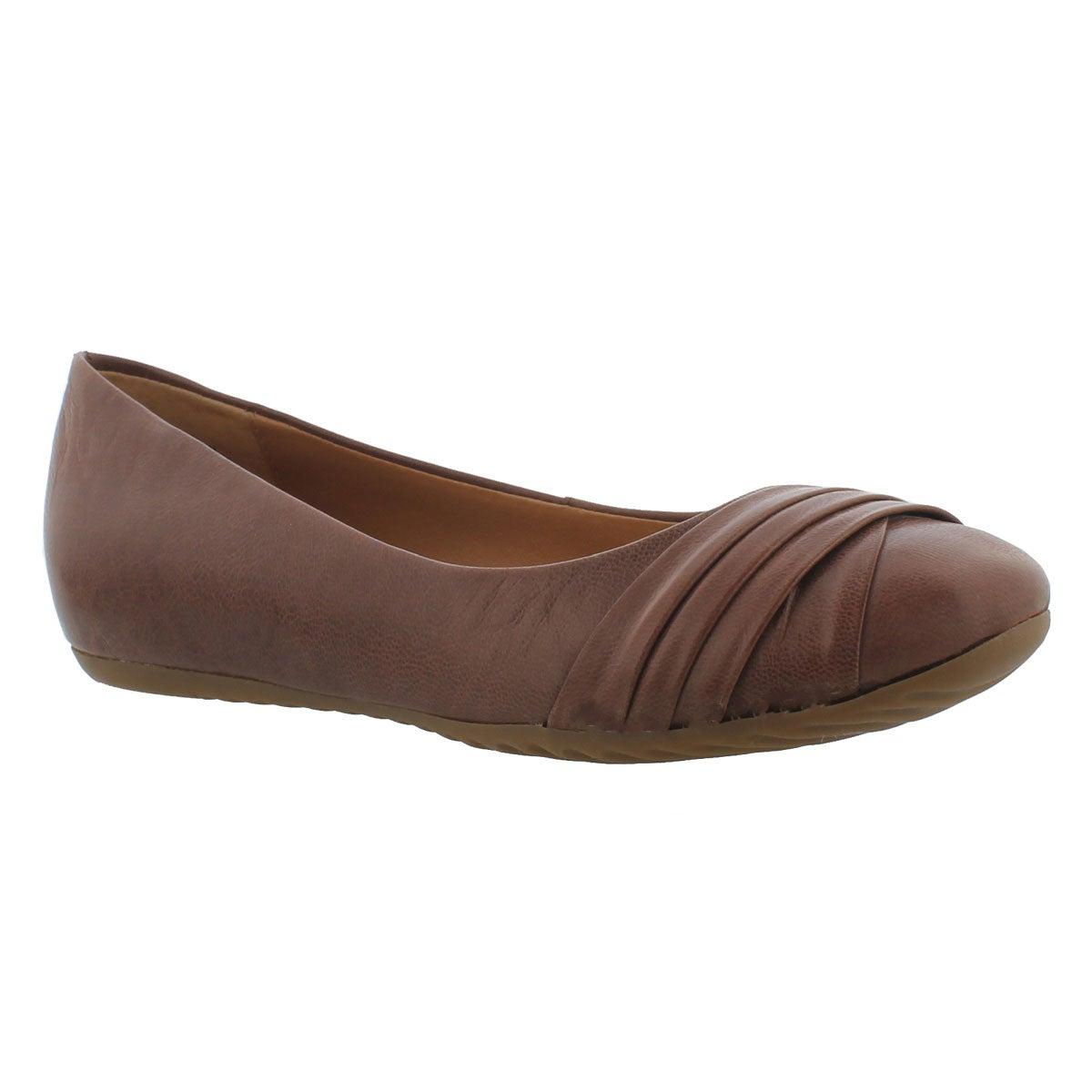 Lds Emily cognac leather ballerina flat