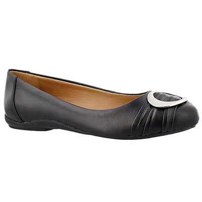 SoftMoc Women's EMILY 2 black buckle ballerina flats