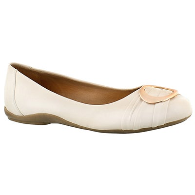 SoftMoc Women's EMILY 2 cream buckle ballerina flats