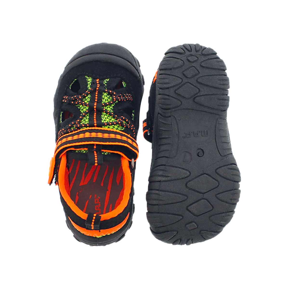 Inf Emmons blk/org fisherman sandal
