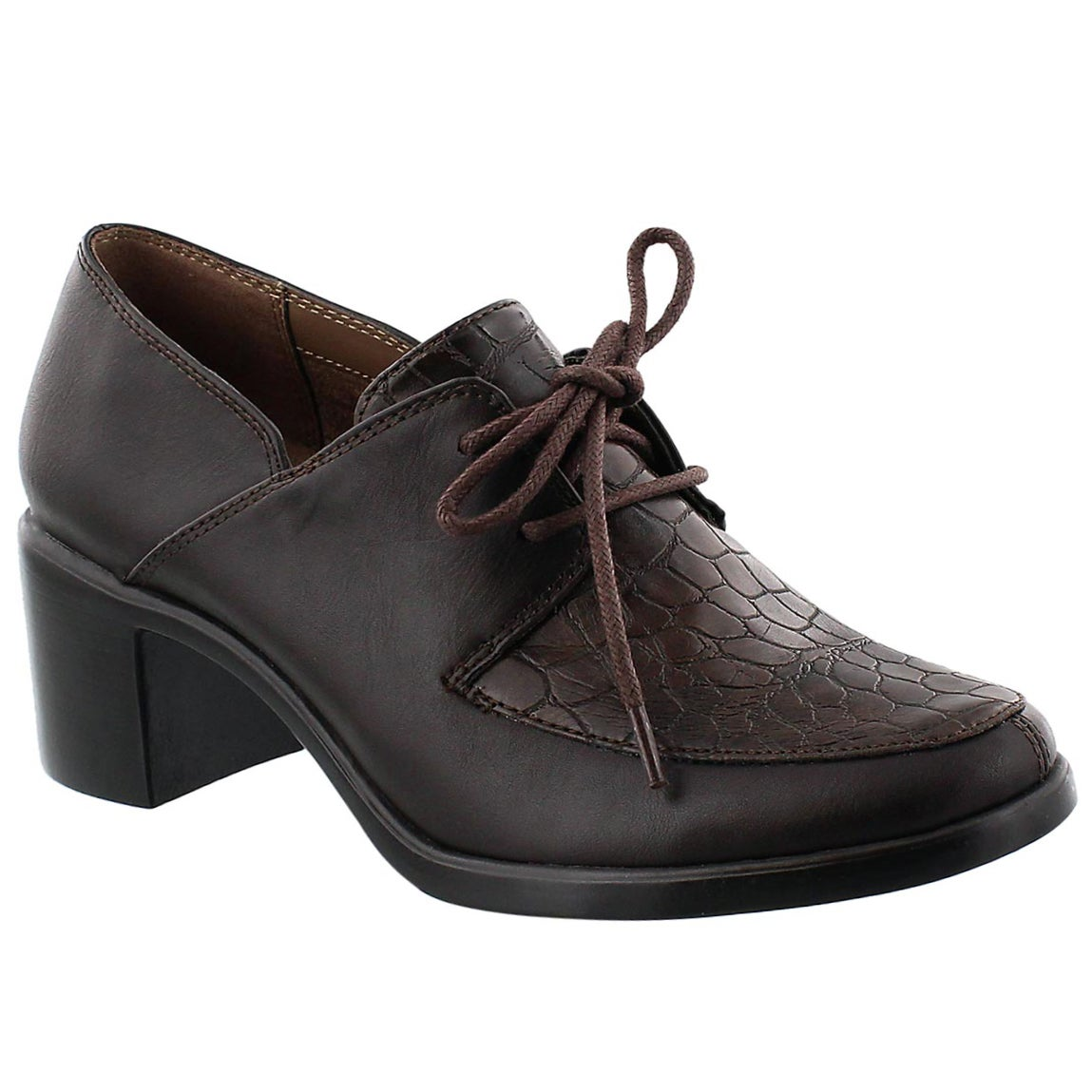 Lds Endearing brown lace-up dress heel
