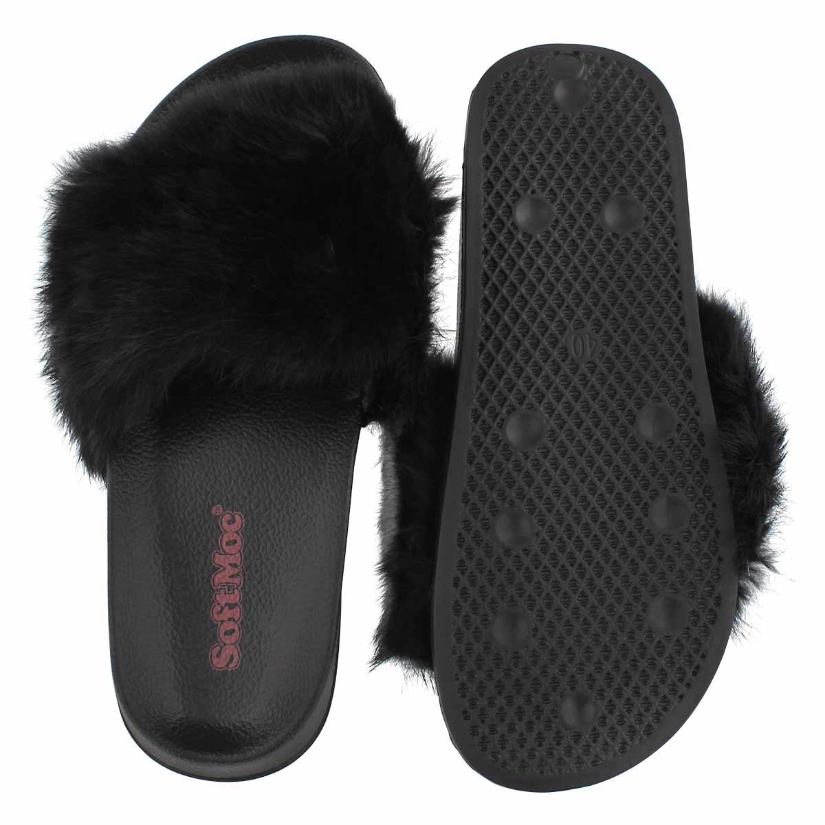 Lds Erica blk fur slide slipper