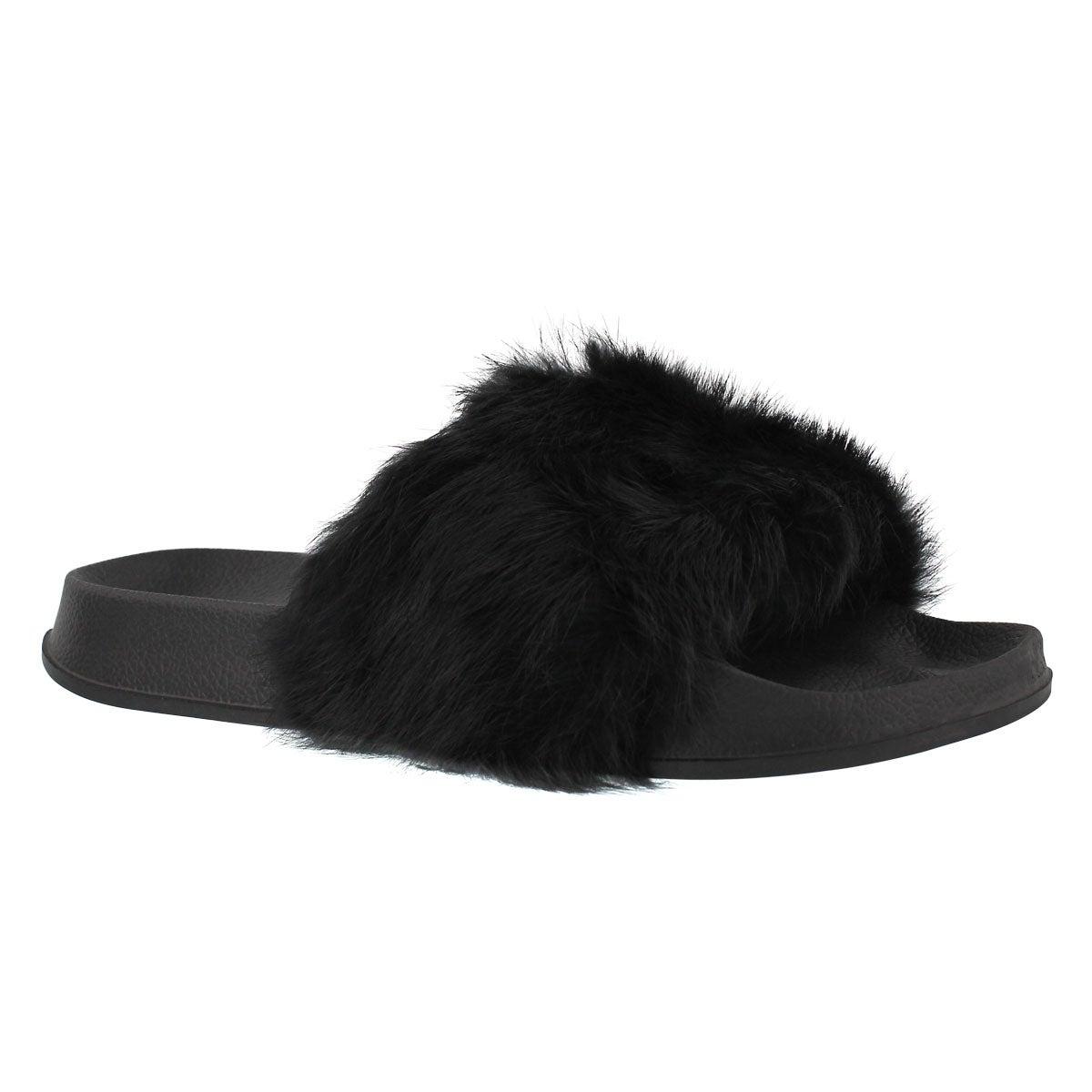 Women's ERICA black fur slide slippers