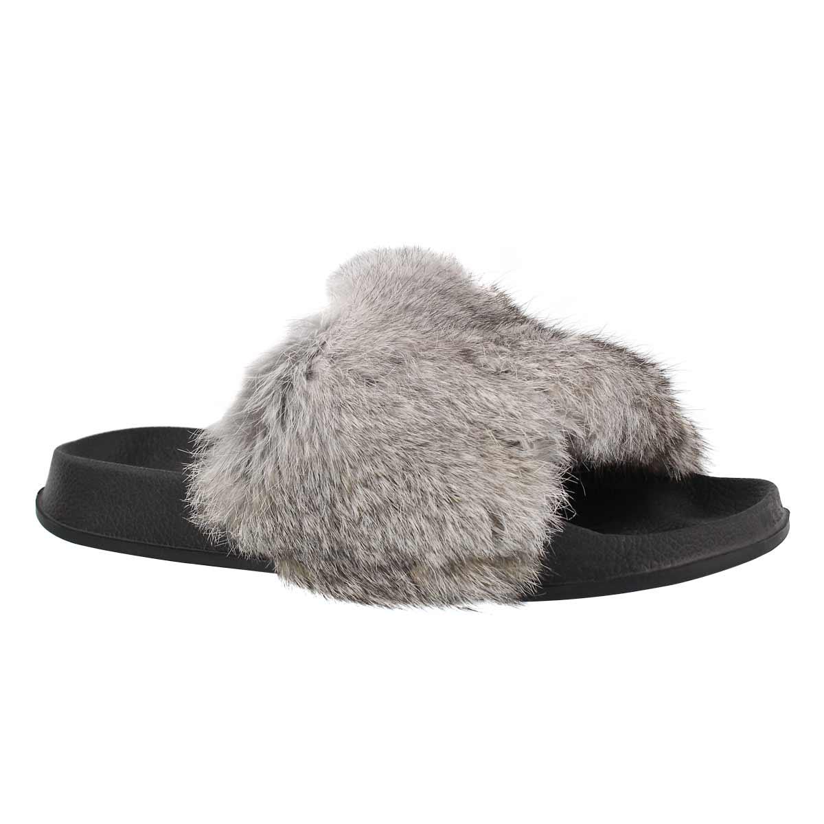 Lds Erica grey fur slide slipper