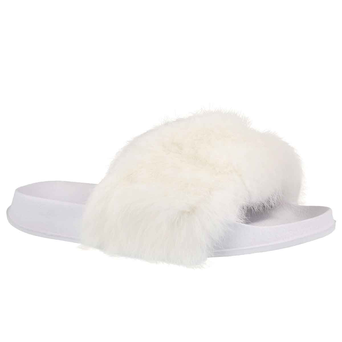 Lds Erica white fur slide slipper