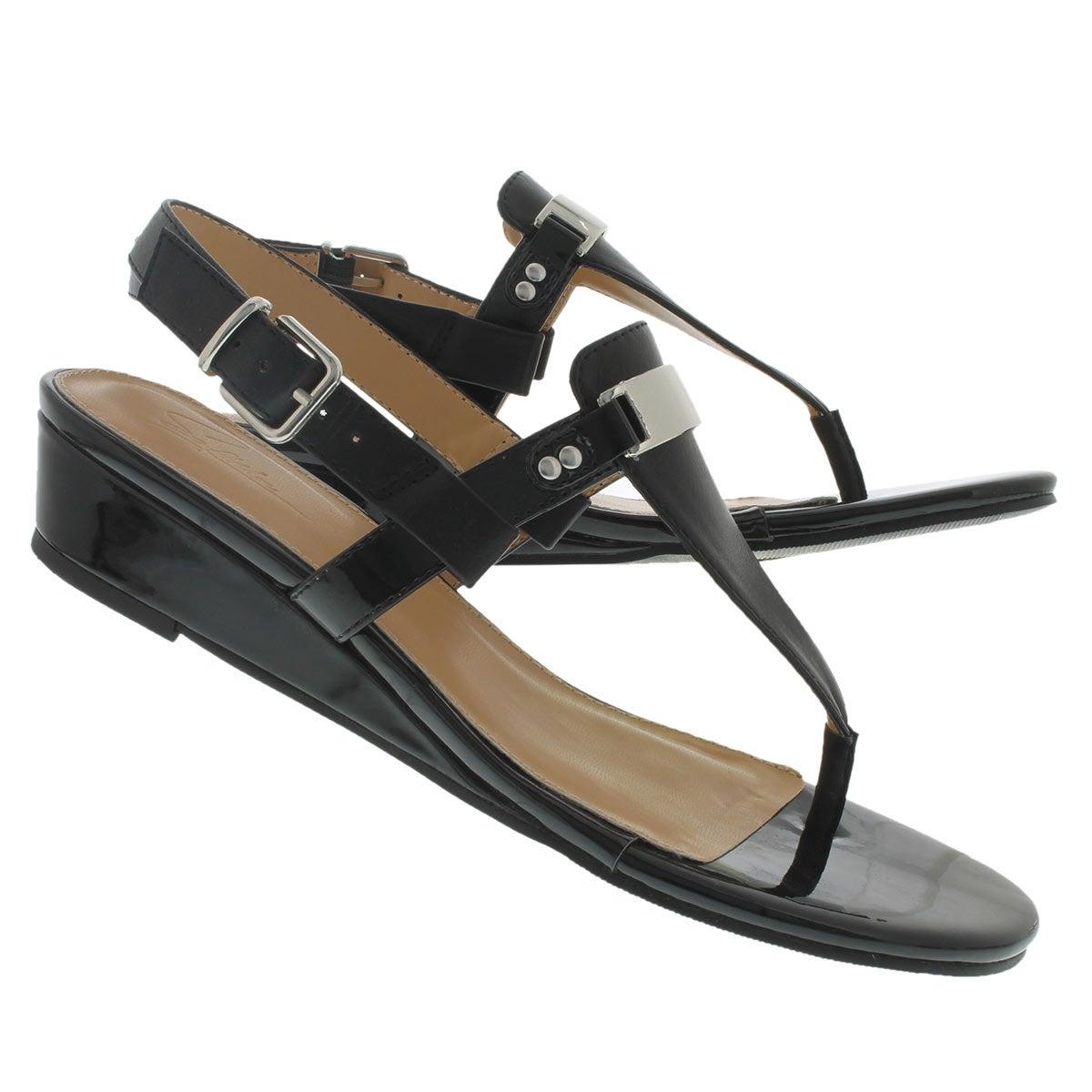 Lds Estelle black wedge thong sandal