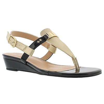 Lds Estelle champagne wedge thong sandal