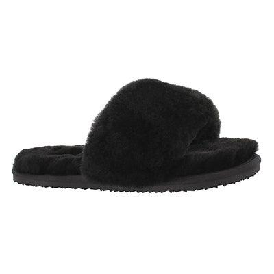Lds Eugenie blk shearliing slide slipper