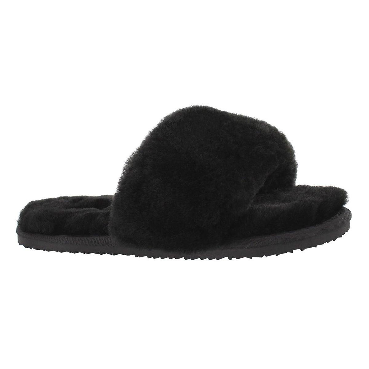Women's EUGENIE black shearling slide slippers