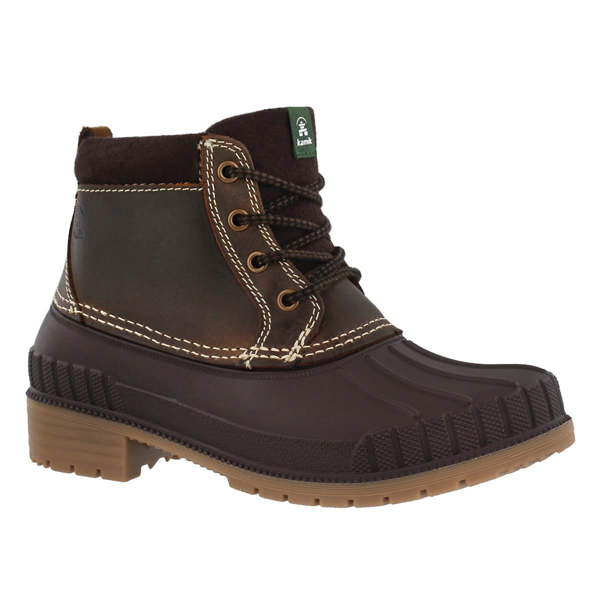 Lds Evelyn4 dk brn wtpf low rain boot